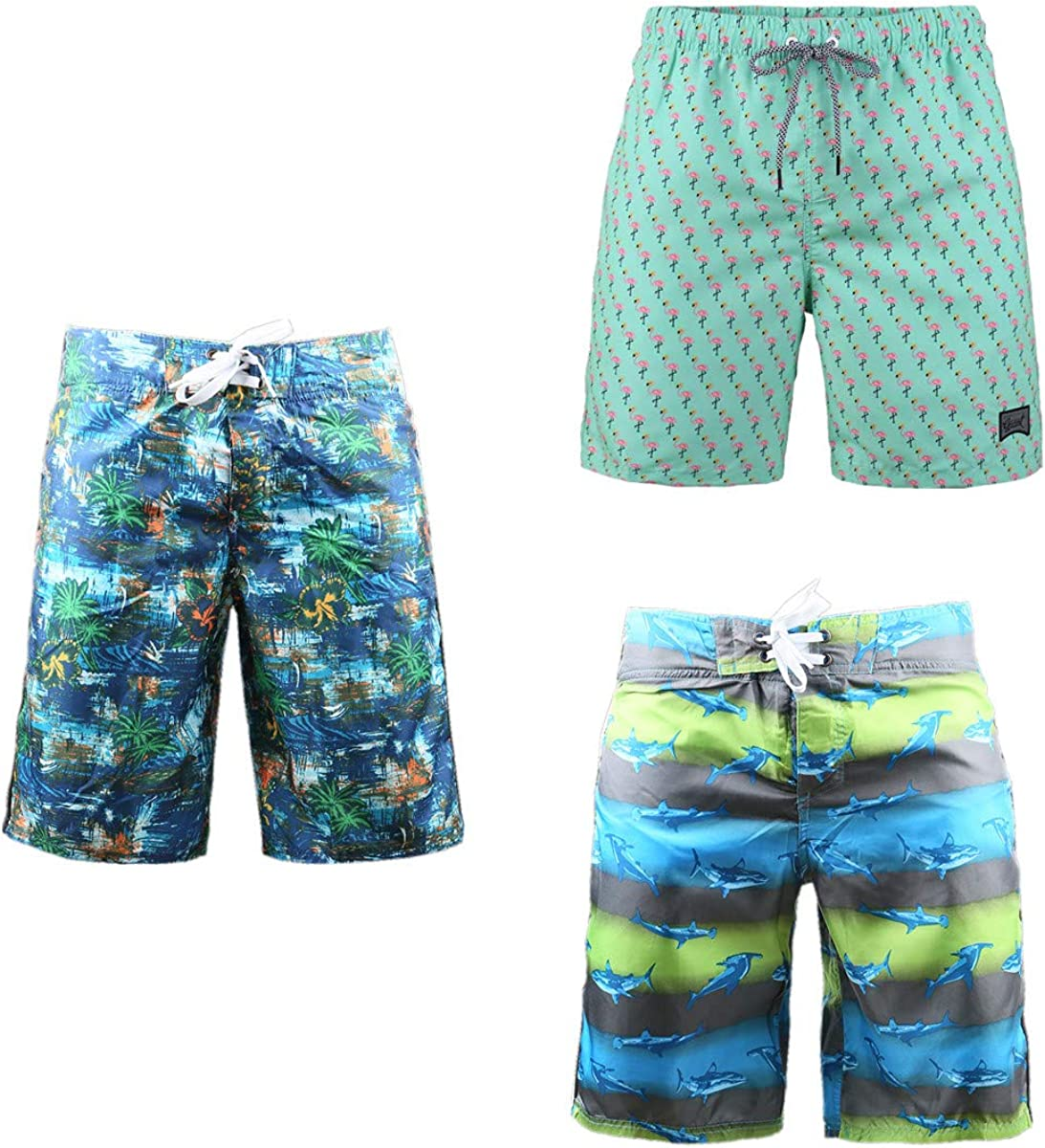 Beautiful Giant 3-Pack Men's Active Surfing Board Shorts Sexy Thin Comfy Qulity Shorts Logo Embroidered with Mesh Lined