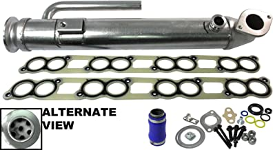 APDTY 015371 EGR Cooler Assembly With All Gaskets (Upgraded Stainless Steel Tube Design) Replaces The Early Ford 6.0L Round Design Found on 2003-2004 Ford (Replaces 3C3Z9P456B)