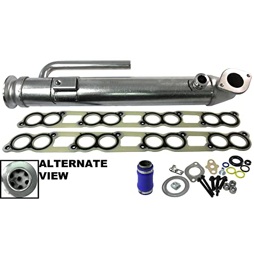 F250, F350, F450, F550, F650, F750 Upgraded Stainless Straight Tube Design For 2004-2010 Ford 6.0L Diesel APDTY 015373 EGR Cooler Kit With Gaskets 4C3Z9P456AJ