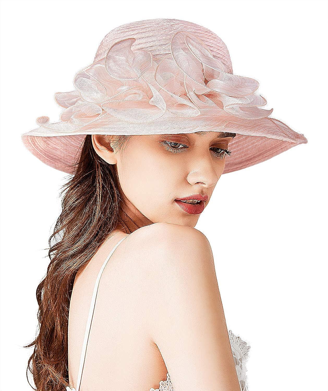 Bellady Big Brim Hat Organza Hats Summer Beach Cap Tea Party Wedding Fascinator Church Hats