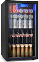 COSTWAY Beverage Refrigerator, 3.2 Cubic Foot Capacity, 120 Can Beverage Cooler with LED Light, Adjustable Thermostat, Rem...