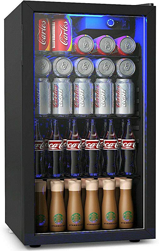 COSTWAY Beverage Refrigerator And Cooler 120 Can Mini Fridge Adjustable Removable Shelves Perfect For Soda Beer Or Wine Small Drink Dispenser Machine For Office Or Bar 17 5 X 19 X 31