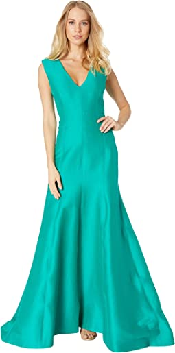 Sleeveless V-Neck Fitted Structure Gown