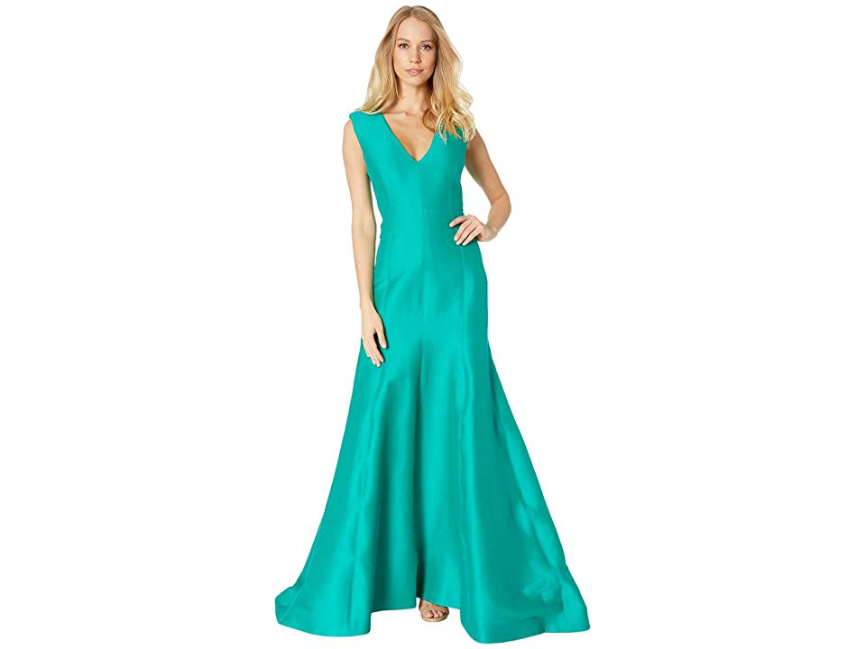 Halston Heritage Sleeveless V-Neck Fitted Structure Gown (Emerald) Women