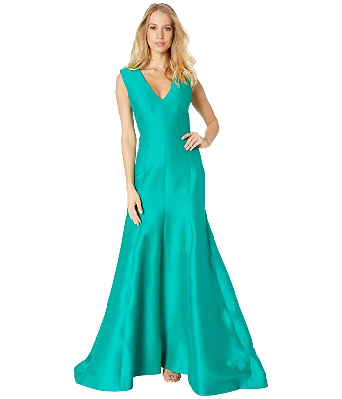 Sleeveless V Neck Fitted Structure Gown by Halston