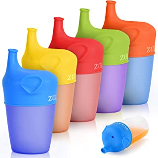 Zulay Silicone Sippy Cup Lids (5 Pack) - BPA Free & Food Grade Spill-Proof Silicone Sippy Cup Covers With Soft Spout - Str...