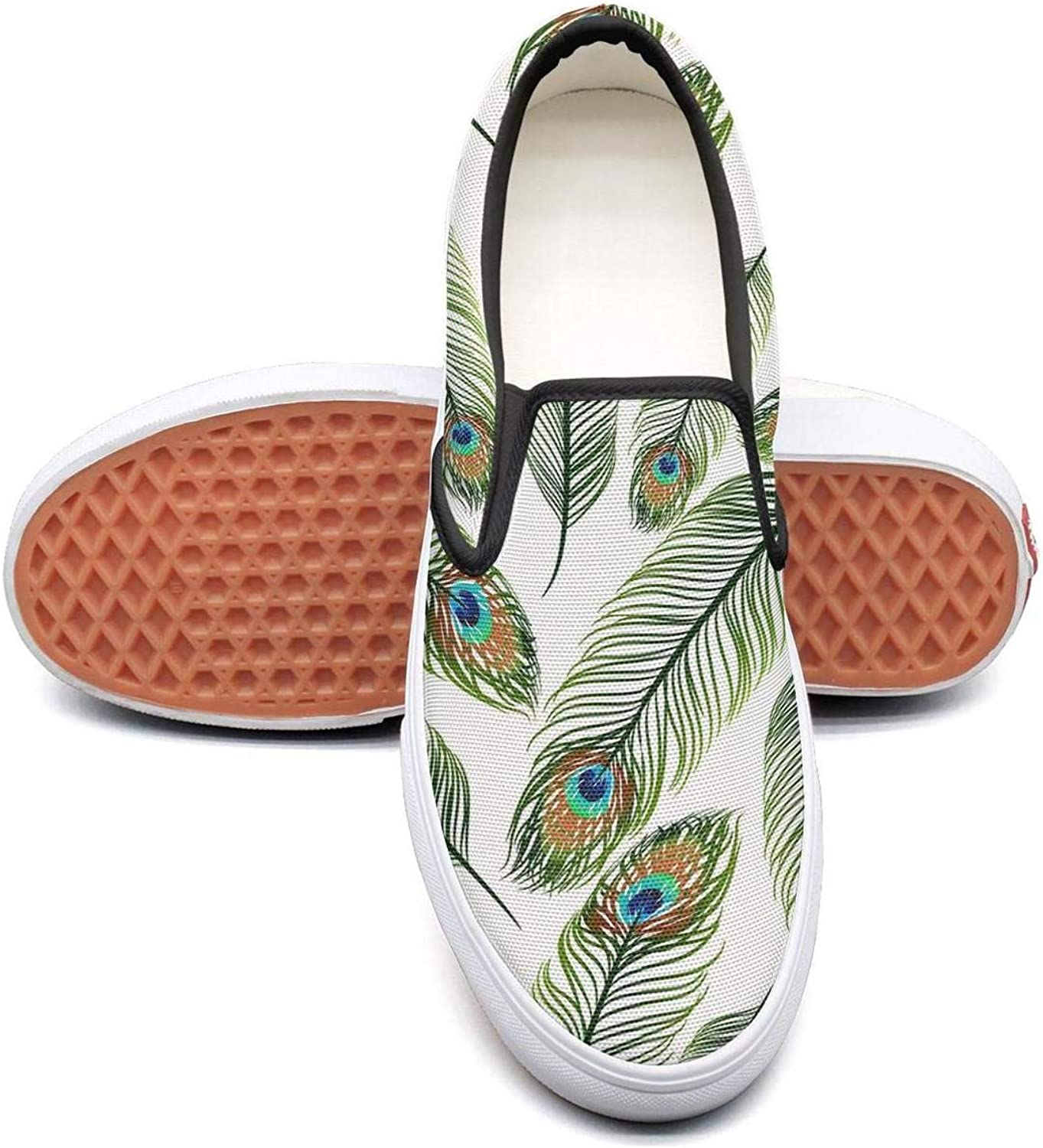 Texture with Peacock Feathers Slip On Canvas Upper Sneakers Canvas shoes for Women Casual