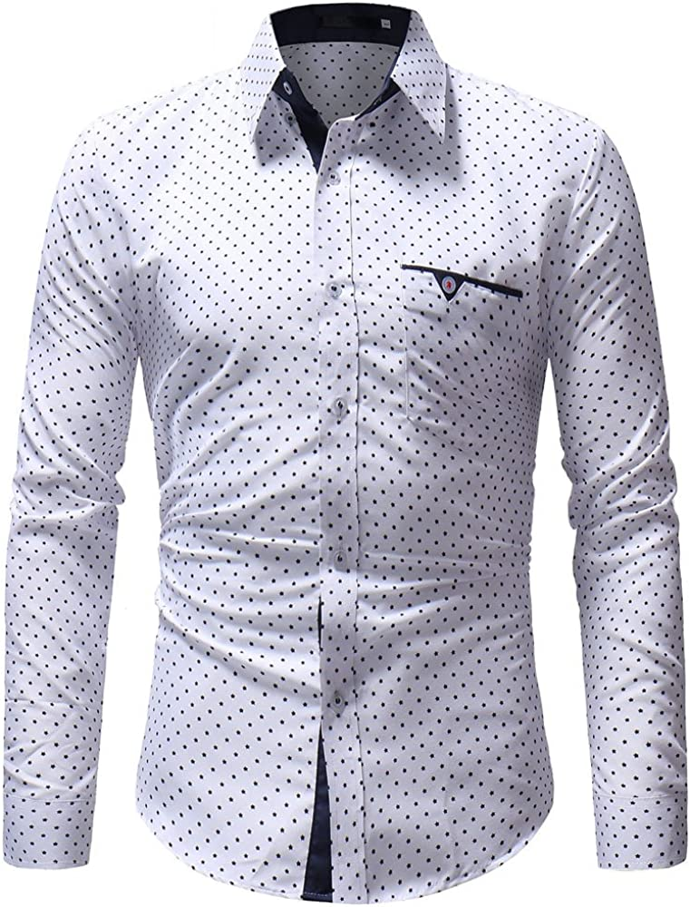 LEIYAN Mens Wrinkle Free Dress Shirts Long Sleeve Slim Fit Stretch Poplin Business Formal Button-Down Shirts