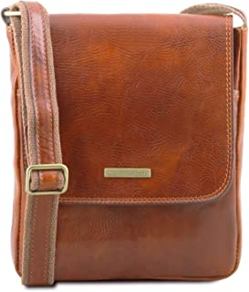Tuscany Leather John Borsello da uomo in pelle con zip frontale