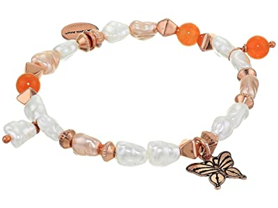 Alex and Ani Butterfly Beaded Charm Stretch Bracelet (Rose Gold) Bracelet