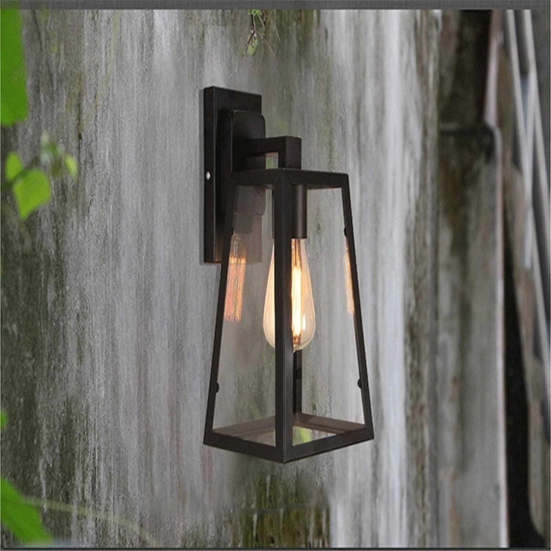 HEYUN Persnlichkeit Retro amerikanisches Land Schmiede Lampe Eisen Glaswand Korridor bar Restaurant Wandleuchte H17  L35 aisle (cm) [Energiestufe A ++]