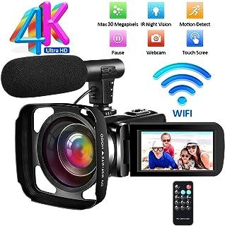 Videocamara Camara Video 4K Ultra HD Videocámara Full HD WiF Videocamara de Visión Nocturna Cámara de Video con Micrófono Externo y Parasol