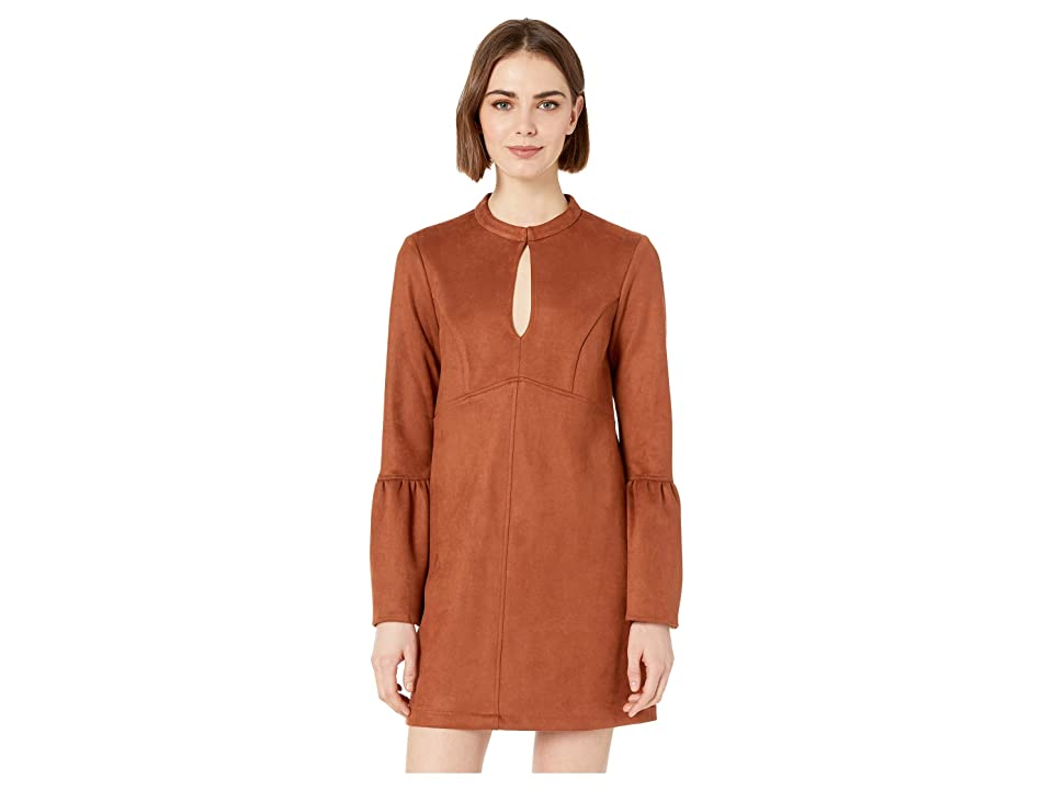 BCBGeneration Day Flare Sleeve Neck Tie A-Line Dress (Cinnamon) Women