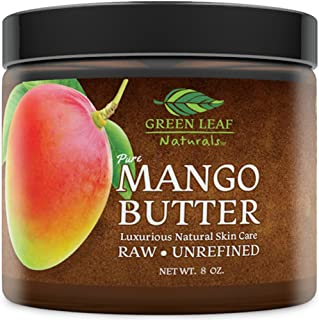 Mango Butter - Raw Unrefined Organic - 100% Pure for Hair and Skin - Smooth and Creamy for DIY Recipes (8 oz)