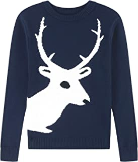 Adory Sweety Sweater for Kids Baby Boy Toddler Crew Neck Cute Jacquard Knit with Reindeer Long Sleeve Pullover for Chrismas