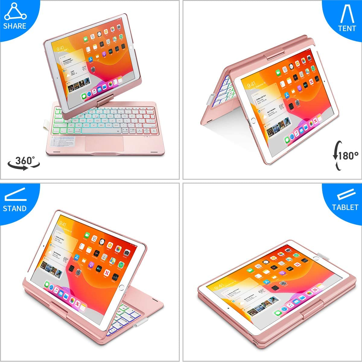 iPad 9th Generation Case with Keyboard and Pencil Holder, Keyboard with Touchpad for 10.2 inch iPad 9th Gen 2021/ 8th Gen 2020/ 7th Gen 2019 and 10.5 inch iPad Air 3 / Pro 10.5-inch 2017 - Rose Gold