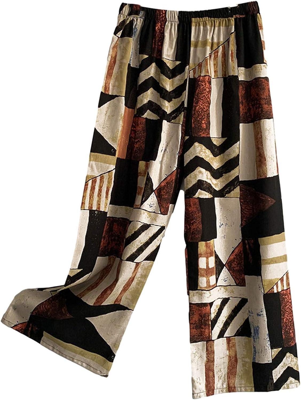 MIVAMIYA Womens Comfy Palazzo Pants Retro Wide Leg Boho Pants Elastic Waist Lounge Pajama Bottoms Soft Casual Trousers