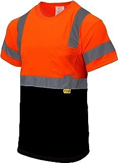NY BFS8511 High-Visibility Class 3 T Shirt with Moisture Wicking Mesh Birdseye, Black Bottom (Extra Large, Orange)