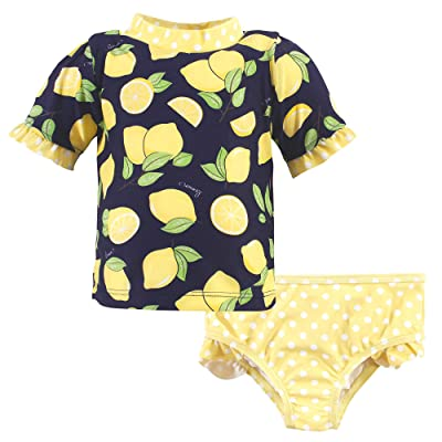 Hudson Baby Hudson Baby Unisex Baby Swim Rashguard Set, Navy Lemons, 12-18 Months