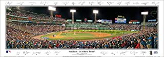 SportPicturesOnline Boston Red Sox 2018 World Series Game One First Pitch with Facsimile Signatures 13.5x39 Panoramic Poster. Frame Dimensions 13.5x39 with Black Metal Frame