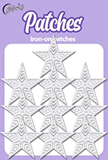 Iron On Patches - White Star Patch 10 pcs Iron On Patch Embroidered Applique Star S-17