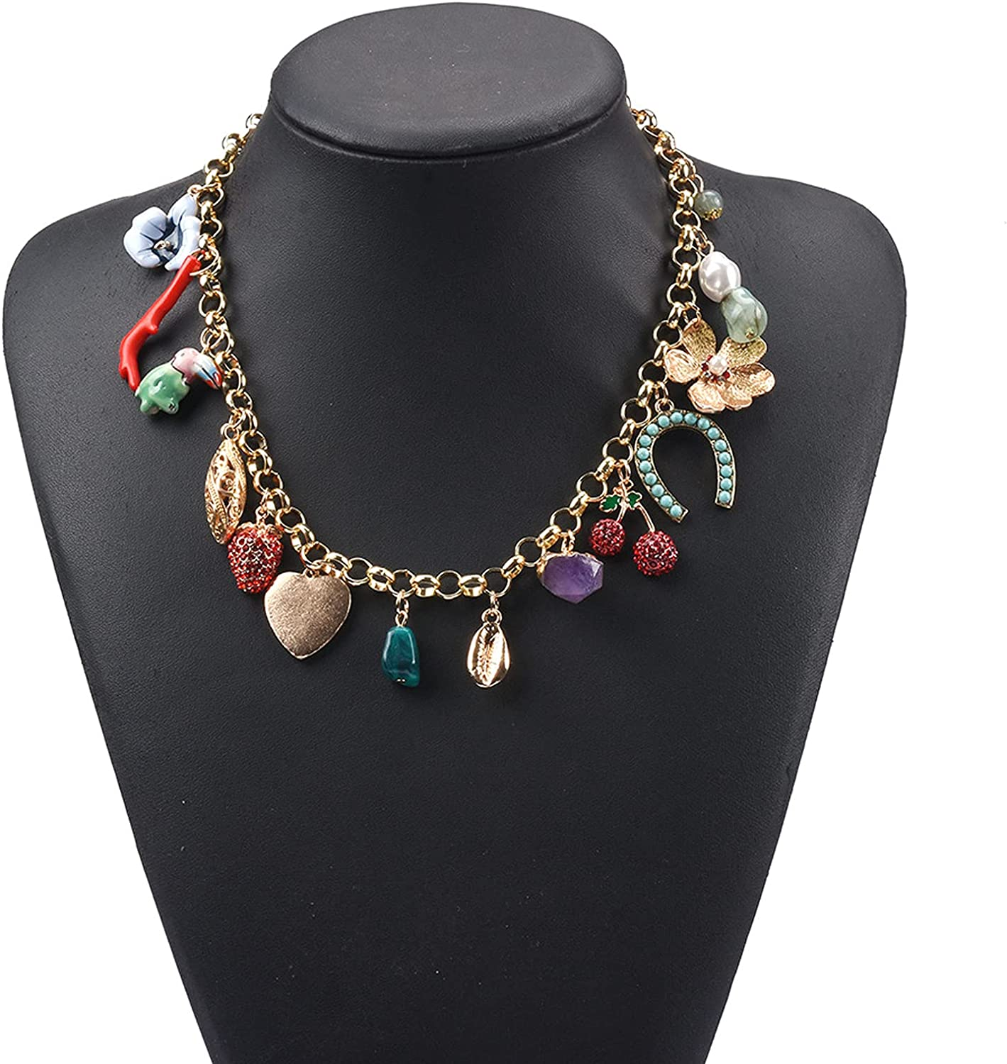 WANZPITS Bohemian Flower Alloy Pendant Necklace for Women Handmade Fashion Casual Chunky Costume Collar Necklace Jewelry for Women,4