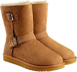Womens Sheepskin Shearling Buckle Boots (6, Chestnut)