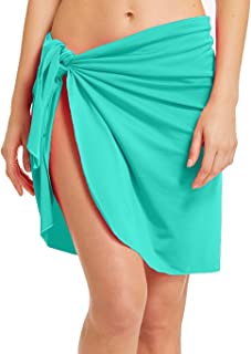 5362b566d3 ChinFun Women's Beach Cover Up Luxury Nylon Spandex Sarong Dress Pareo Knee  Length Bathing Suit Swimming