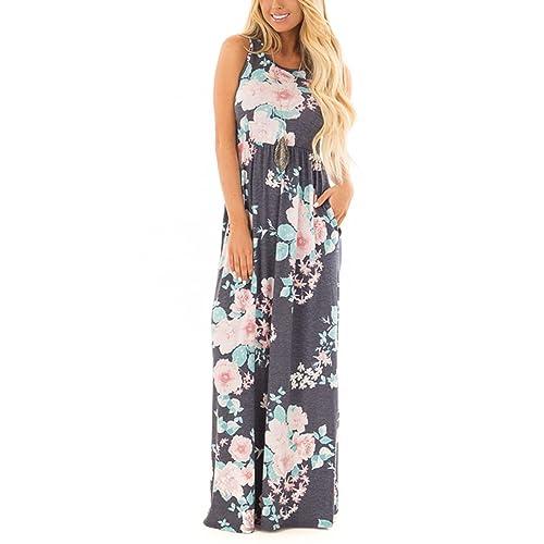 a653ce649a49 ZRMY Women s Floral Print Sleeveless Tunic Maxi Dress Casual Racerback  Beach Long Dress Pockets