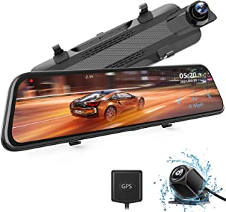 """WOLFBOX 2.5K Mirror Dash Cam, 10"""" Full Touch Screen Rear View Mirror Camera with Waterproof Backup Camera, Dual Dash Cam F..."""
