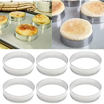 vwlvrsco Baking Rings,6Pcs Stainless Steel Cake Muffin Crumpet Bread Rings Bakery Baking Mold Tools Cake mold For Kitchen Bakery Silver