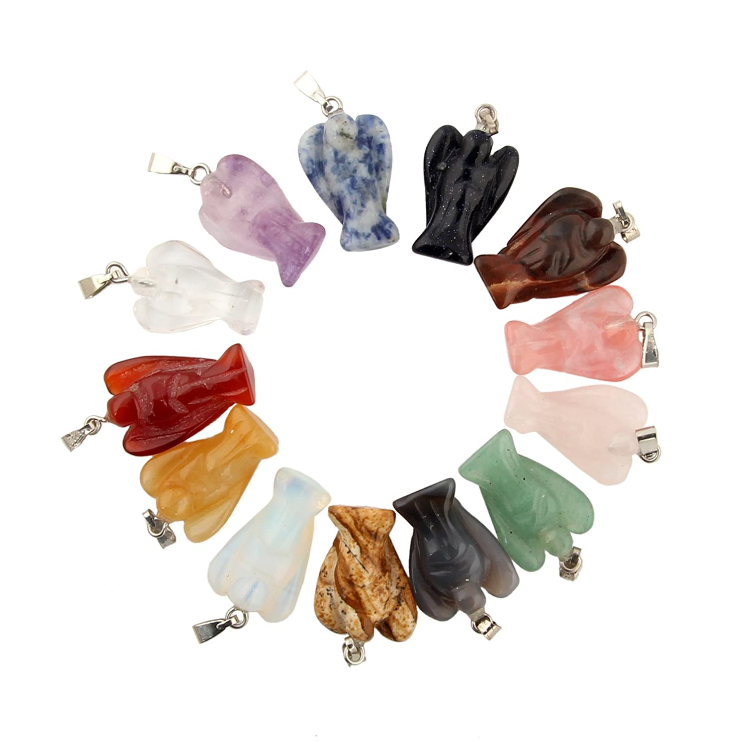 15pcs Assorted Guardian Angel Handmade Carved Gemstone Stone Chakra Crystal Healing Chams Pendant for Necklace Jewelry Making