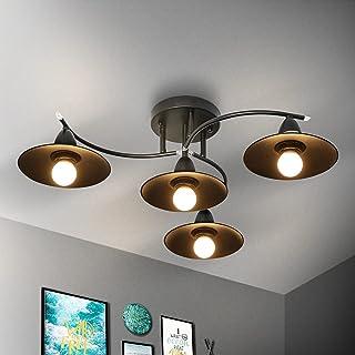 Plafonnier Vintage E27 Rétro Noir Lampe de Salon 4 Feux Lampe de Couloir Industrielle Lampe Intérieur Chambre à Manger Lam...
