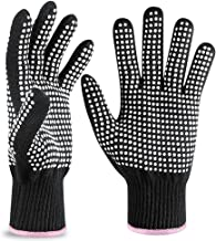 Heat Resistant Glove for Hair Styling, Professional Silicone Non-Slip Heat Resistance Blocking Gloves for Curling, Flat Iron and Curling Wand, Fit All Hand Sizes-2PCS