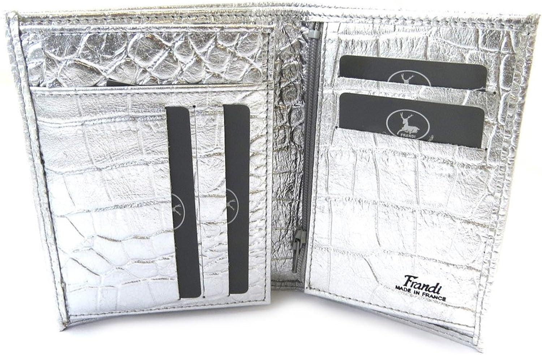 Frandi [N4457]  European leather wallet 'Frandi' silvery (crocodile).