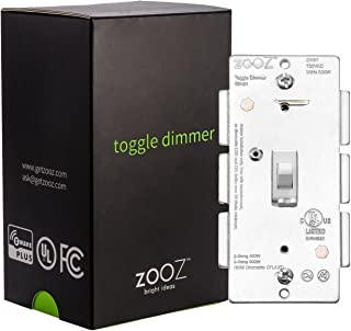 Zooz Z-Wave Plus Toggle Dimmer Light Switch ZEN24 VER 3.0 (White), Works with Existing Mechanical 3-Way Switch