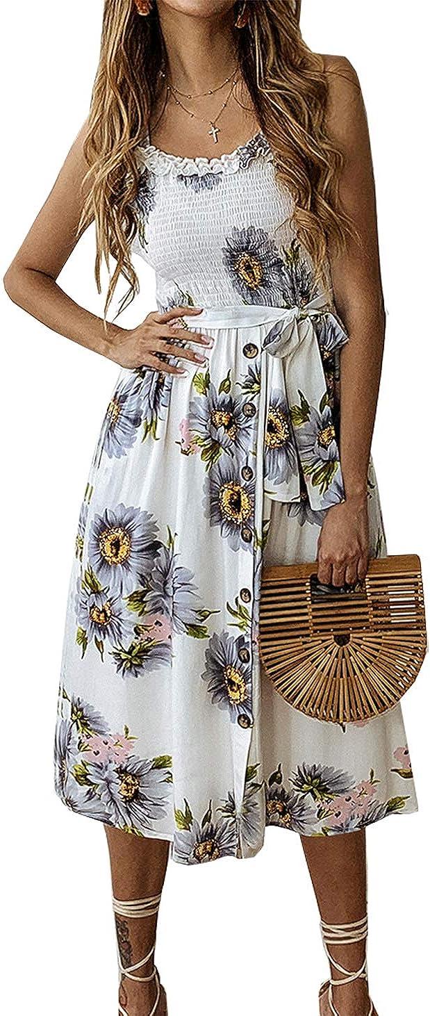 PRETTYGARDEN Women's Spaghetti Strap High Waist Button Down Belted Tube Top Summer Dress Beach Sundresses with Pockets