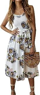 PRETTYGARDEN Women's Summer Sunflower Boho Spaghetti Strap Semi-Backless Button Down A-Line Midi Dress with Belt and Pockets