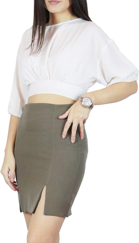 schapshik | Double Slit Mini Skirt with Zipper | Pocketless Straight Short Skirt | Handmade | Khaki Green