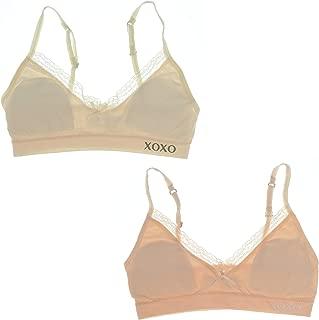 XOXO Girl Training Bra Set with Removable Pads, Lace Trim (2 Bras) (32 Medium, Blush & Beige)