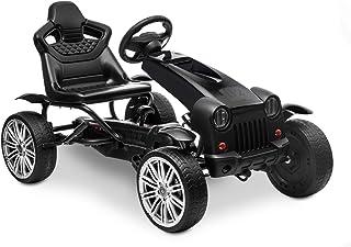 HOMFY Pedal Go Kart Children Ride on Racing Car Toys Adjustable Seat, Handbrake and Shift Lever - Black