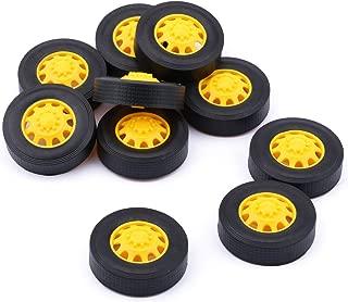 Yeeco 10Pcs Plastic Toy Car Tire Wheel, Mini Φ342mm Smart RC Car Robot Tyres Model Gear Parts with Convex Wheel Hub