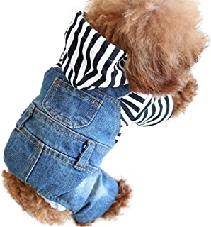 OSPet Dog Denim Vest Pet Cloth Dog Outfit Puppy Jacket Pet Vest Dog Hoodie Cat Jumpsuit Overall for Small/Medium Dog & Cat