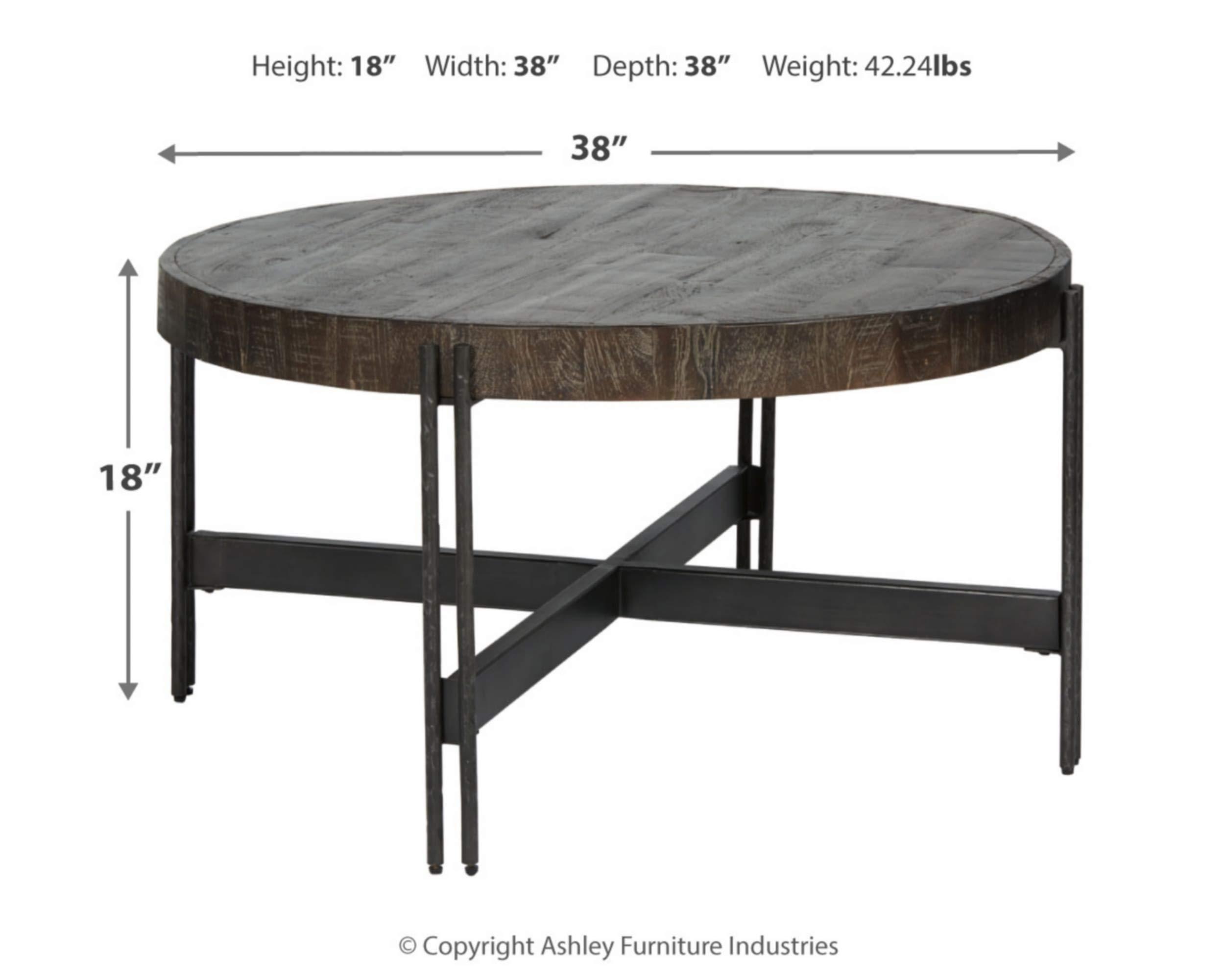 Signature Design By Ashley Jillenhurst Round Rustic Cocktail Table Dark Brown Furniture Decor