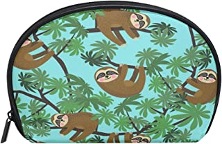 ALAZA Sloth Tree Half Moon Cosmetic Makeup Toiletry Bag Pouch Travel Handy Purse Organizer Bag for Women Girls