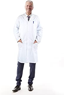 Medvat Lab Coat, Premium, Unisex White Coat for Men and Women, 38.5-45 Inch Length - Comfortable and Breathable   White