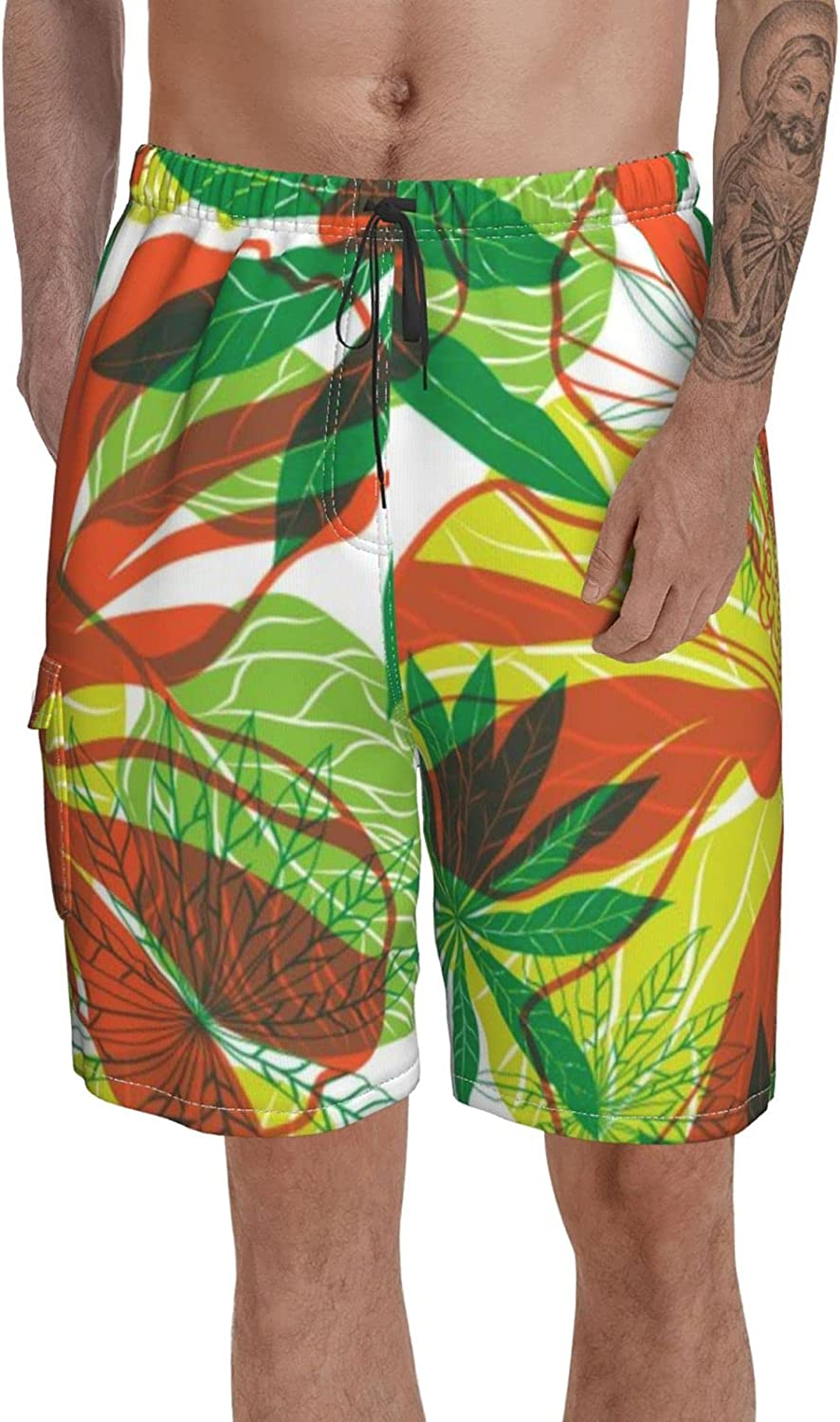 Btrada Colorful Tropical Watercolor Swim Trunks with Pockets Boardshort Printed Mens Summer Shorts