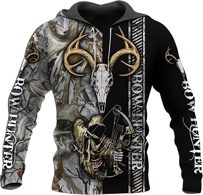 HKBQQB Bow Hunting Deer Hoodies Men's Fashion Camo Sweatshirt Top Hip Hop Shirt