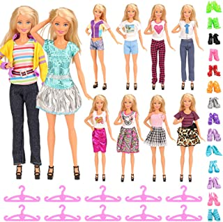 Barwa 30 Accessories for 11.5 Inch 30 cm Dolls: 5 Fashion Dresses + 5 Clothes and Pants + 10 PCS Shoes + 10 Hangers