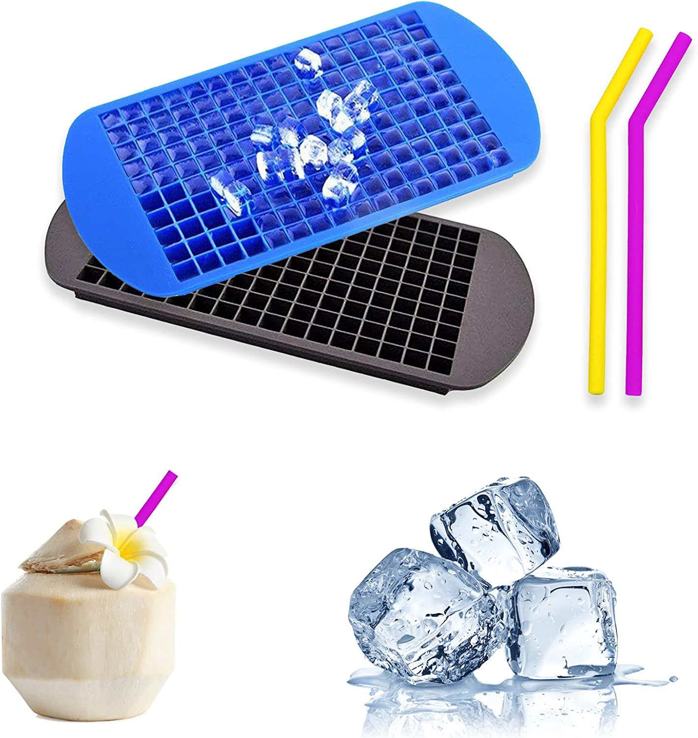 Mini Ice Cube Trays, Tiny Ice Cube Trays, 2 Packs 160 Cavity Small Reusable & BPA Free Silicone Ice Cube Maker for Cooling Party Beverage, Whiskey, Spirits & Liquor Drinks (with 2 Silicone Straws)